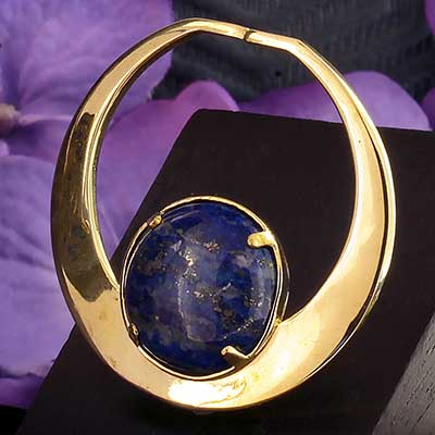 Brass and Lapis Orb Seamless Hoop Weights