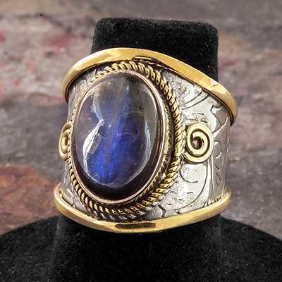 Embellished Silver and Labradorite Ring