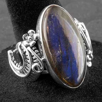 Silver and Labradorite Decor Ring