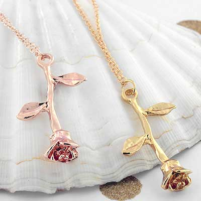 Hanging Rose Necklace