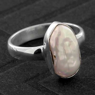 Silver and Viva Shell Ring