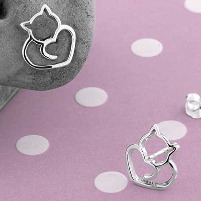 Silver Cat Heart Stud Earrings