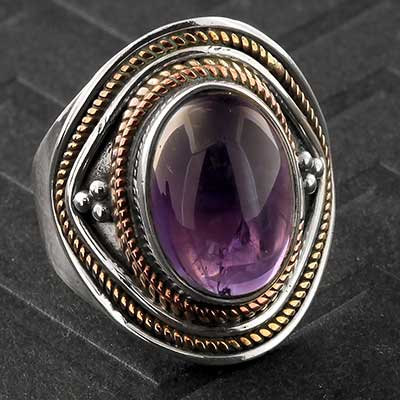 Embellished Silver and Amethyst Ring