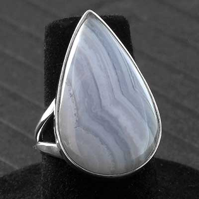 Silver and Blue Lace Agate Ring