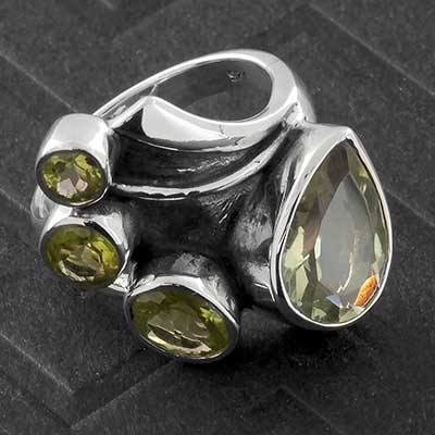 Silver and Green Amethyst Flourish Ring