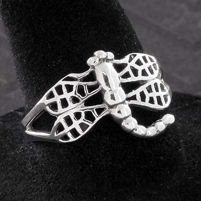 Silver Ornate Dragonfly Ring
