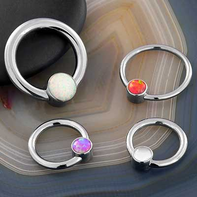Captive Rings With Bezel Beads