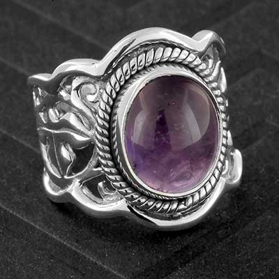 Silver and Amethyst Vine Ring
