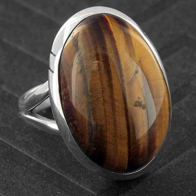Silver and Yellow Tiger Eye Ring