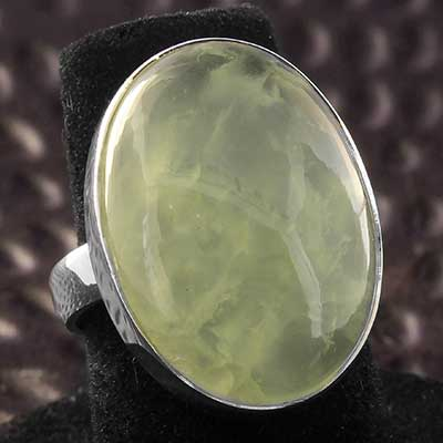 Silver and Prehnite Ring