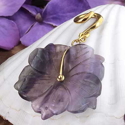 Solid Brass and Fluorite Flower Weights