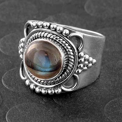 Silver and Labradorite Sunbeam Ring