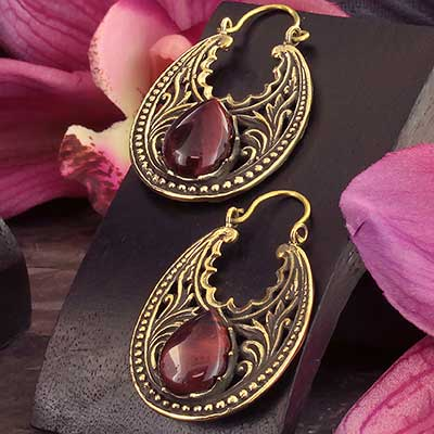 Brass Prosper Earrings with Red Tiger Eye