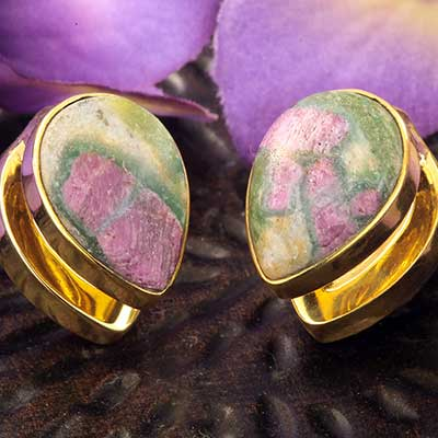 Solid Brass Spade Weights with Ruby Fuchsite