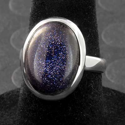 Silver and Blue Goldstone Ring