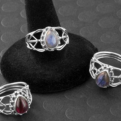 Silver and Stone Beaded Teardrop Ring