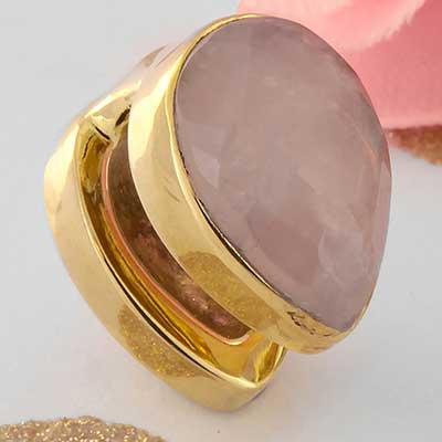 Solid Brass Mini Spade Weights with Rose Quartz