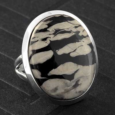 Silver and Zebra Jasper Ring