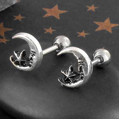 Crescent Moon and Star Barbell