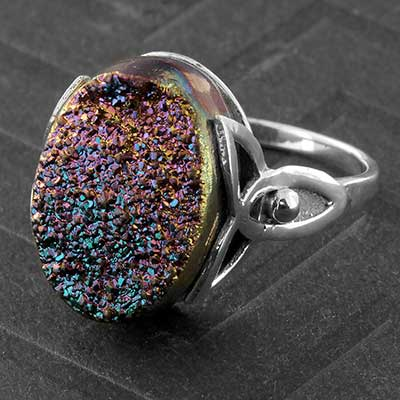 Silver and Titanium Plated Druzy Ring