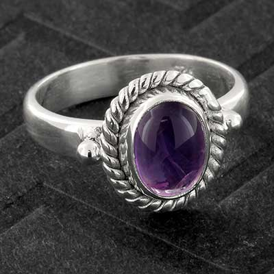 Silver and Framed Amethyst Ring