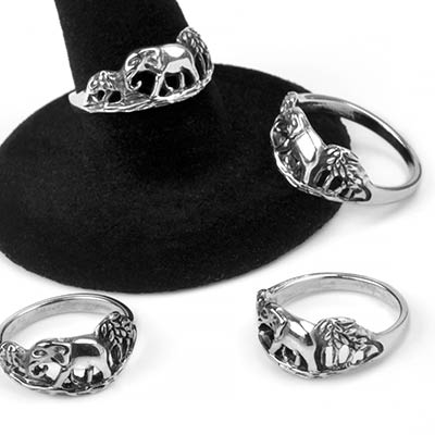 Silver Scenic Elephant Ring