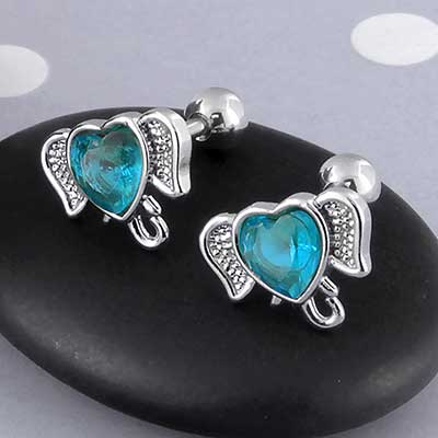 Blue CZ Heart Elephant Barbell