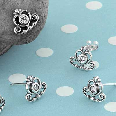 Silver Decor Heart Stud Earrings