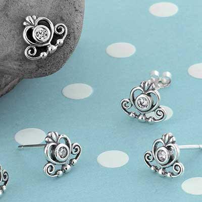 Silver Decor Heart Stud Earrings