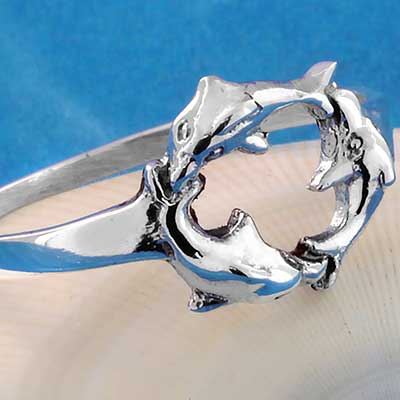 Silver Dolphin Circle Ring