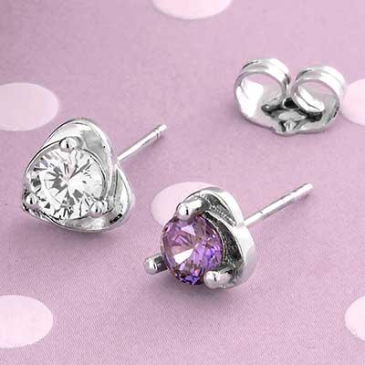 Gem Heart Stud Earrings