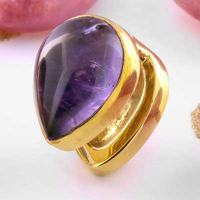 Solid Brass Mini Spade Weights with Amethyst