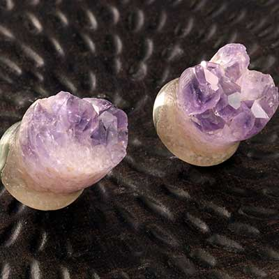 Rough Amethyst Druzy Stone Plugs