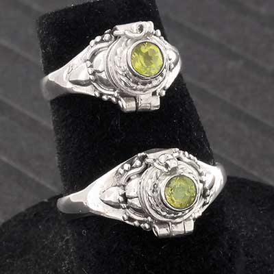 Silver and Genuine Peridot Poison Ring