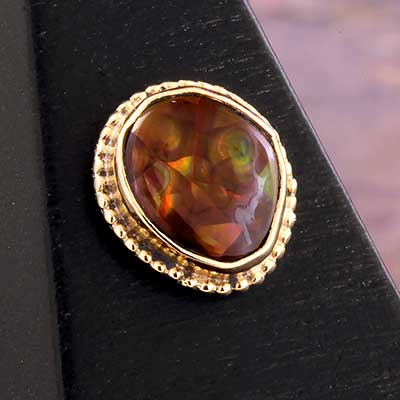 14k Gold Threadless End with Fire Agate