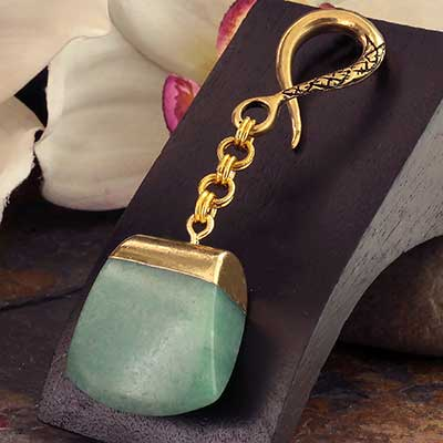 Brass with Green Aventurine Slice Weights