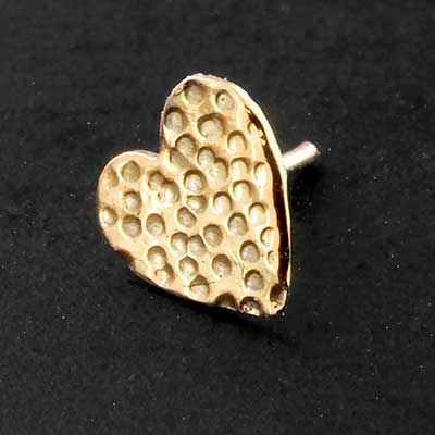 14k Gold Hammered Heart Threadless End