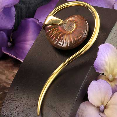 Brass and Ammonite Swan Spiral Weights
