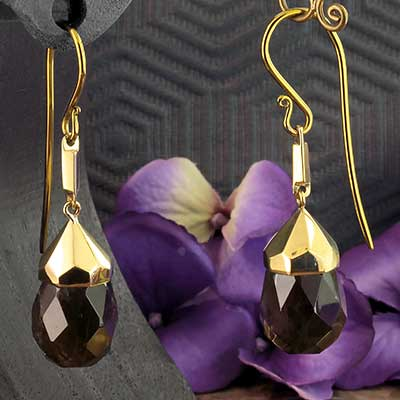 Brass and Faceted Smokey Quartz Drop Weights