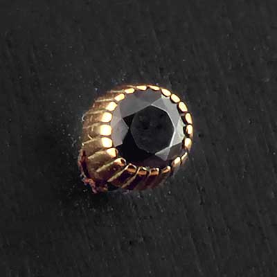 Gold and Black CZ Threaded End