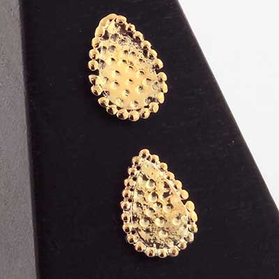 14k Gold Beaded Teardrop Threadless End