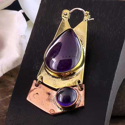 Mixed Metal and Amethyst Shield Earrings