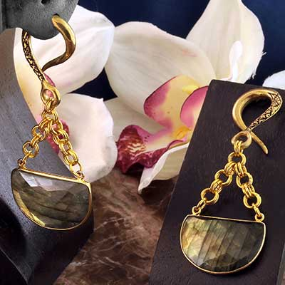 Brass and Faceted Labradorite Half Circle Weights