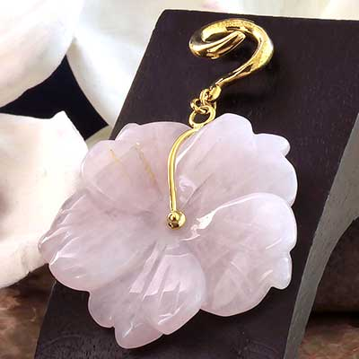 Solid Brass and Rose Quartz Flower Weights