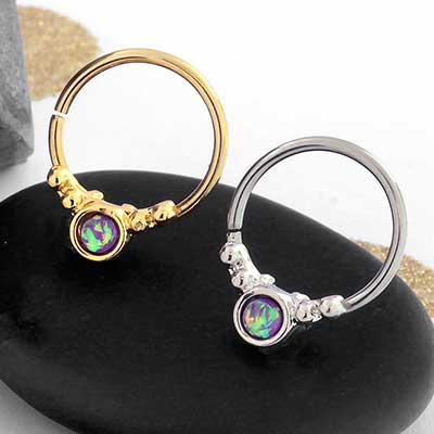 Synthetic Pink Opal Ornate Seamless Ring