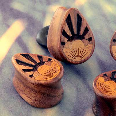 Chechen Wood Rising Flower Teardrop Plugs