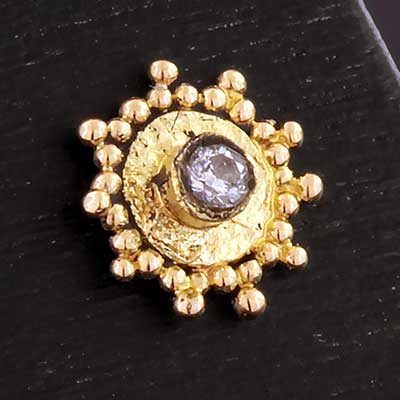 14k Gold Sunburst Threadless End with Diamond