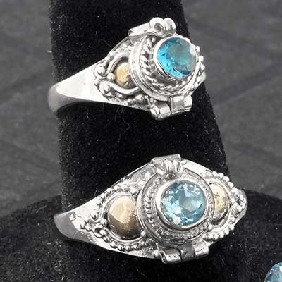Silver and Blue Topaz Gemstone Poison Ring