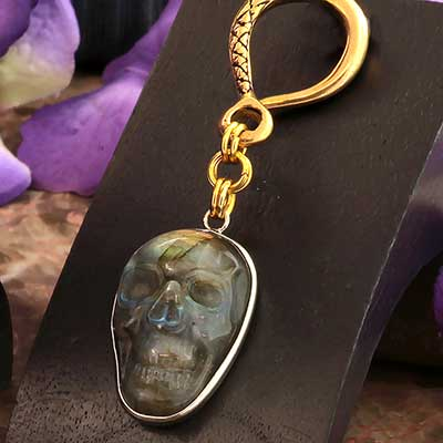 Solid Brass Labradorite Skull Weights