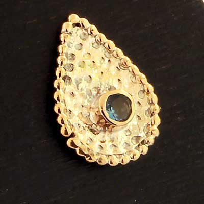 14k Gold Beaded Teardrop Threadless End with Topaz